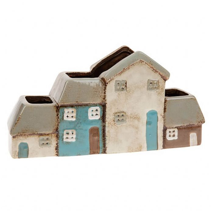 Village Pottery Row of 4 Houses Planter